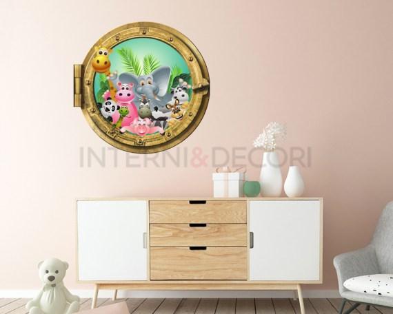 Sticker oblò-Tutti insieme nella foresta-Infanzia-adesivo 3d muro animali