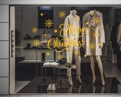 Adesivo per vetrina-Natale tra stelle e fiocchi