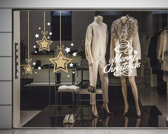 Vetrofania-Natale con stelle cadenti