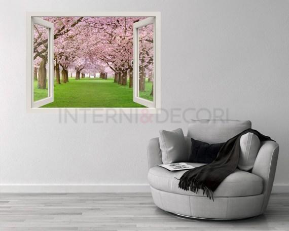 Finestra illusione-camminando i ciliegi