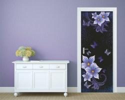 Adesivo per porte-fiori e farfalle viola