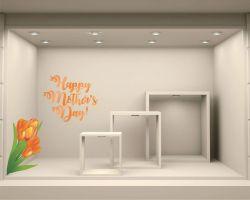 Adesivo per vetrina-fiori per la mamma