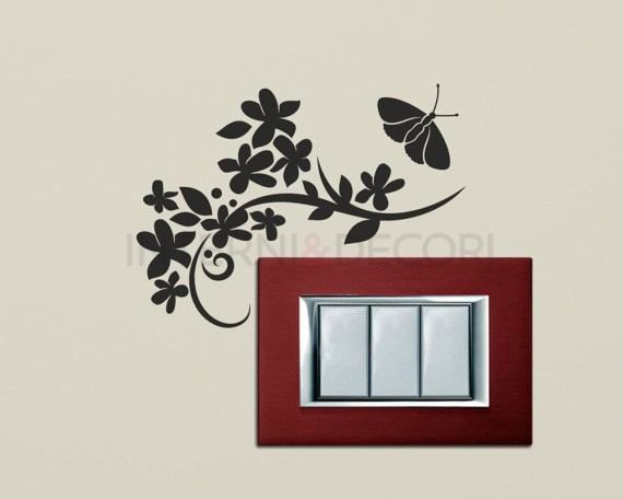 Mini sticker murale-fiori con farfalla