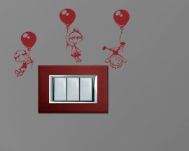 Mini sticker murale-bimbi in volo con palloncini