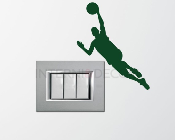 Mini sticker murale-cestista in canestro