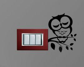 Adesivo per interruttori mini sticker murale-gufo che dorme