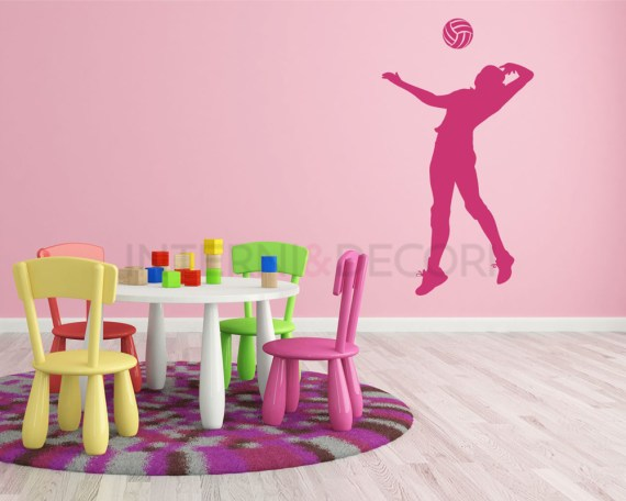 Adesivo murale-pallavolista in schiacciata
