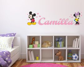 Adesivo murale con nome-Cuori per Minnie-Adesivo a parete