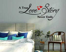Adesivo murale-a true love story never ends-adesivo da parete amore