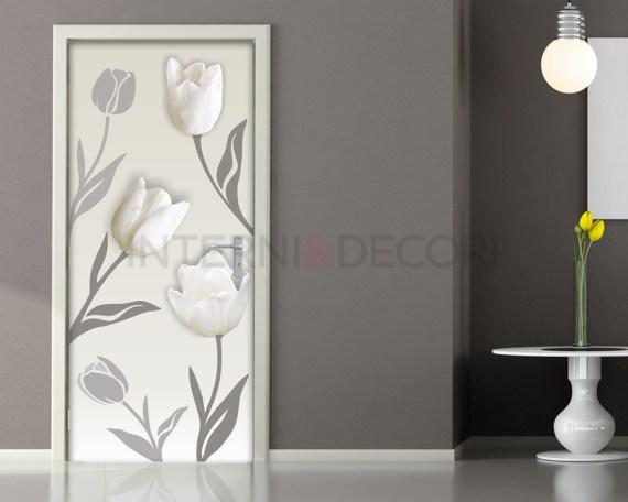 Tulipani bianchi-adesivo per porte fiori