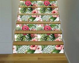 Decorazione per scale-foglie e ibiscus-adesivo per scale