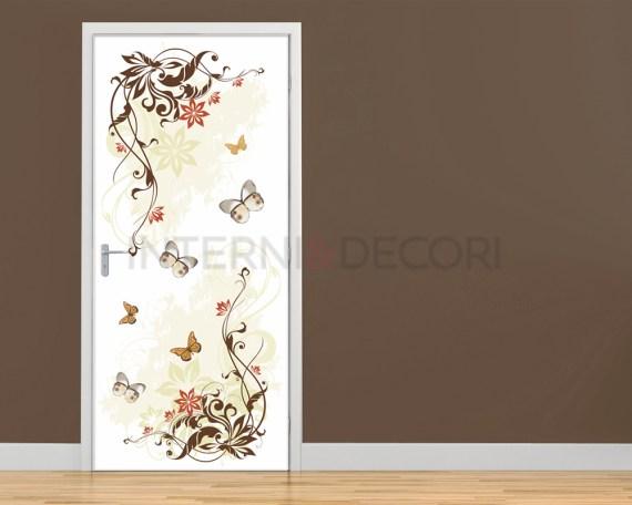 Adesivo per porte-decori fioriti con farfalle