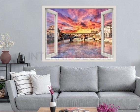 Finestra illusione-vista sul Ponte Vecchio-adesivo murale finestra