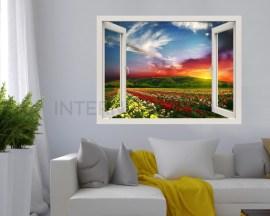 Finestra illusione-tramonto sul roseto-adesivo murale finestra