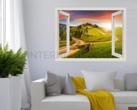 Finestra adesiva 3d-paesaggio con arcobaleno