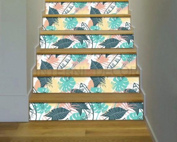Decorazione per scale-foglie tropicali-adesivo per scale