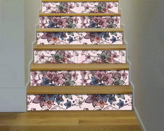 Decorazione per scale-motivo floreale-adesivo per scale