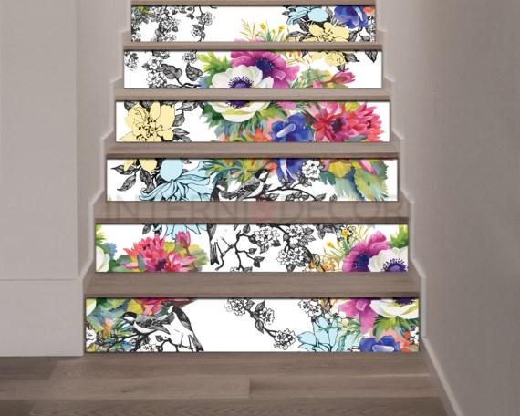 Decorazione per scale-fiori variopinti-adesivo per scale