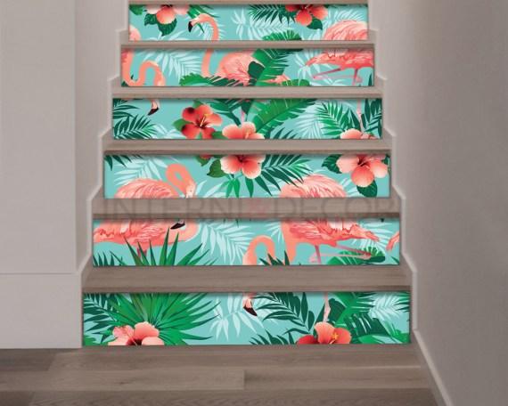 Decorazione per scale-fiori e fenicotteri rosa-adesivo per scale