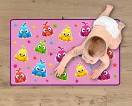 Adesivo per pavimenti-gufetto su sfondo rosa-tappeto adesivo
