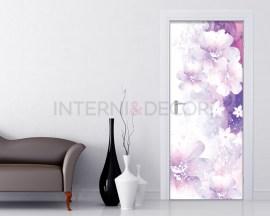 Adesivo per porte-fiori bianchi su sfondo viola
