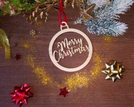 Decorazione legno a taglio laser-merry christmas