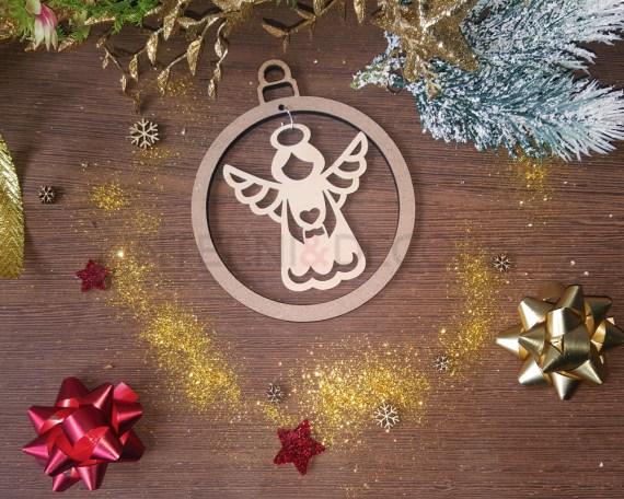 Decorazione legno a taglio laser-angelo con dono