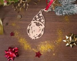 Decorazione legno a taglio laser-Babbo Natale