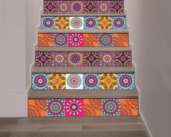 Decorazione per scale-sfumature di arancio-Adesivo per scale