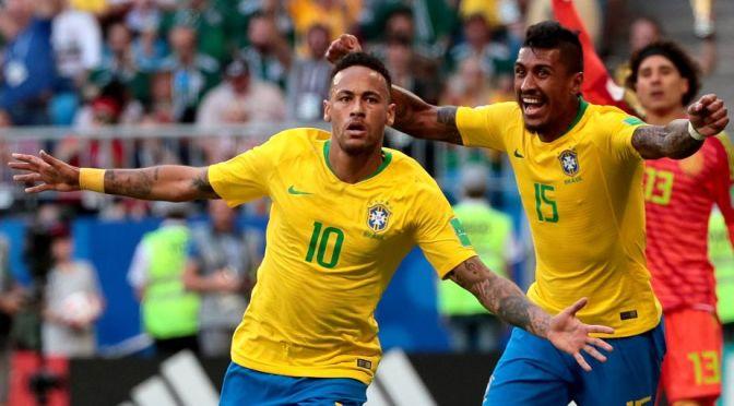 BRASIL AVANZA CON UN MARCADOR DE 2-0 CONTRA LA SELECCIÓN MEXICANA.