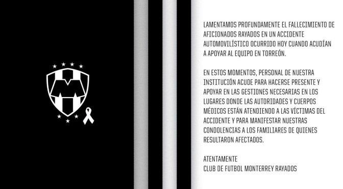 ACCIDENTE DE AFICIONADOS DE RAYADOS DEJA DOS MUERTOS