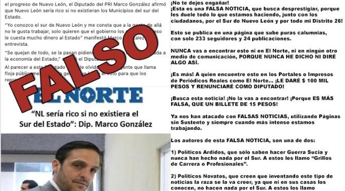 MARCO GONZÁLEZ DESMIENTE SOBRE NOTA FALSA QUE PUBLICO EL PERIÓDICO EL NORTE.
