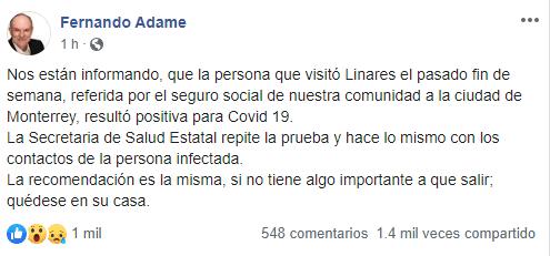 PERSONA DA POSITIVO A COVID-19 EN LINARES.