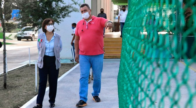SUPERVISA CRISTINA DÍAZ MANTENIMIENTO DE UNIDADES DEPORTIVAS EN GUADALUPE