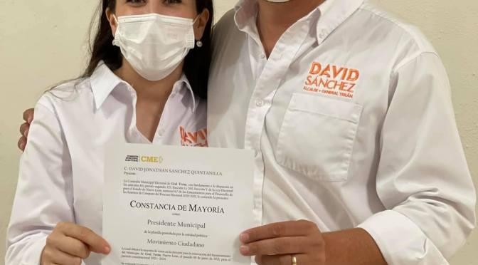 DAVID SÁNCHEZ RECIBE CONSTANCIA DE MAYORÍA DE VOTOS PARA ALCALDE ELECTO DE GENERAL TERÁN, N.L.