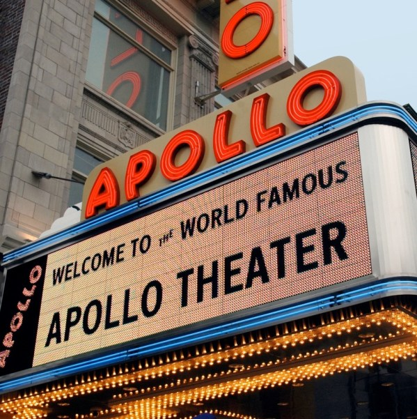 The lit awning at the apollo theater