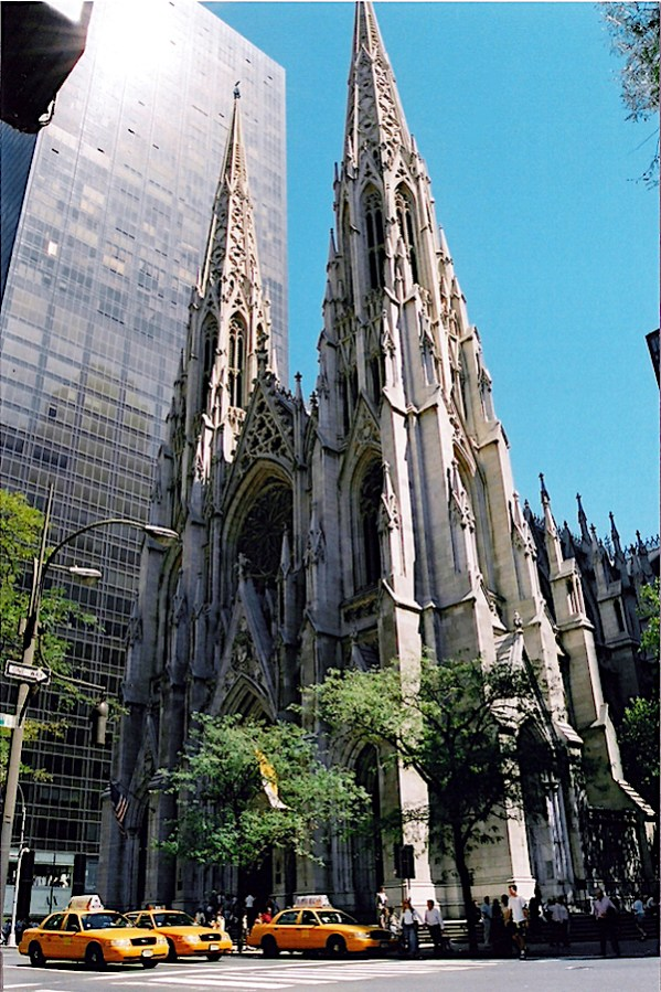A street view of St. Patricks Cathedral in Manhattan