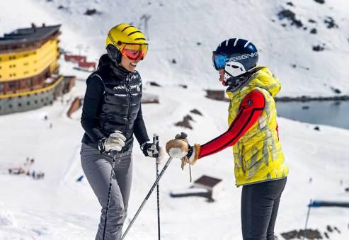 August 24, 2016 - Portillo, Chile: Tarlan Sabahi and Barbara Sanders skiing at Portillo.