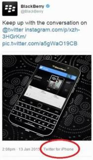 BlackBerry iPhone social media oops