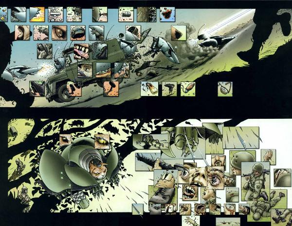 transposição do bullet time para a linguagem dos quadrinhos