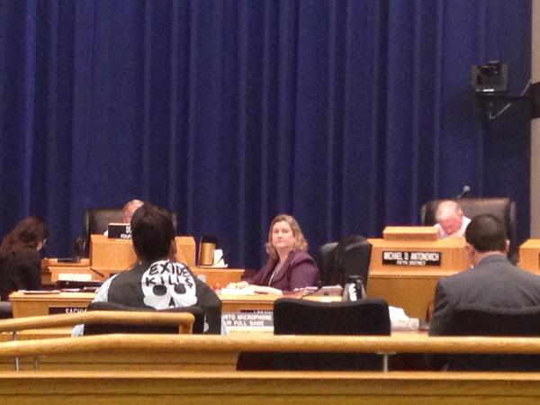 """Doelorez Mejia wears a cape reading """"Exide Kills"""" at a Board of Supervisors Meeting in March.   Daina Beth Solomon"""
