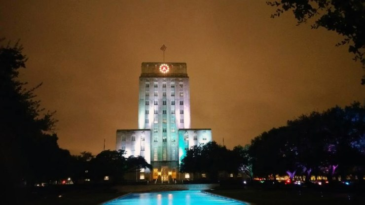 Houston illumination of City Hall. Photo: The Houston Intersex Society