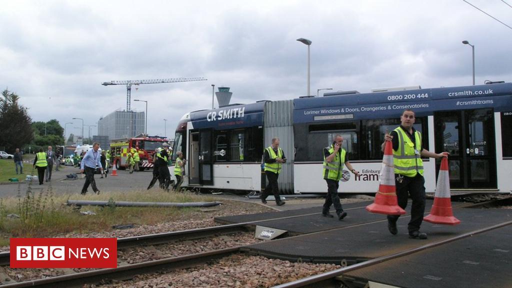 102010622 tramcrashivon - Driver injured in Edinburgh Airport bus and tram collision