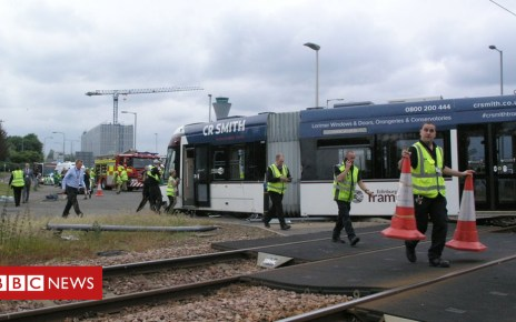 102010622 tramcrashivon - Driver injured in Edinburgh Airport bus and tram collision