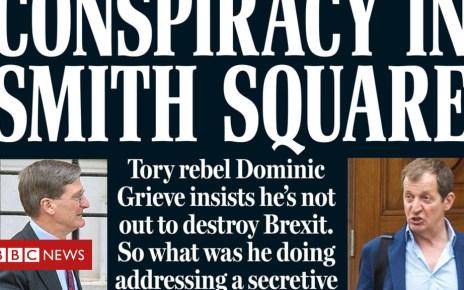 102012165 p - Newspaper headlines: Brexit conspiracies, revolts, and fissures