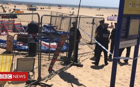 102278843 gorleston - Child seriously hurt on Norfolk beach inflatable