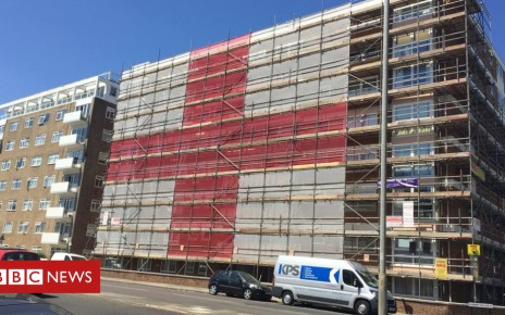 102279052 flag - World Cup 2018: Hove scaffolders fly giant flag for England
