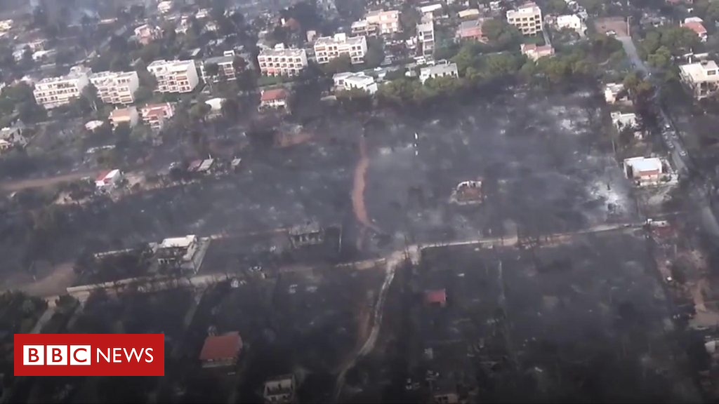 102679127 p06fmhjk - Greece wildfires: Ariel view of destruction