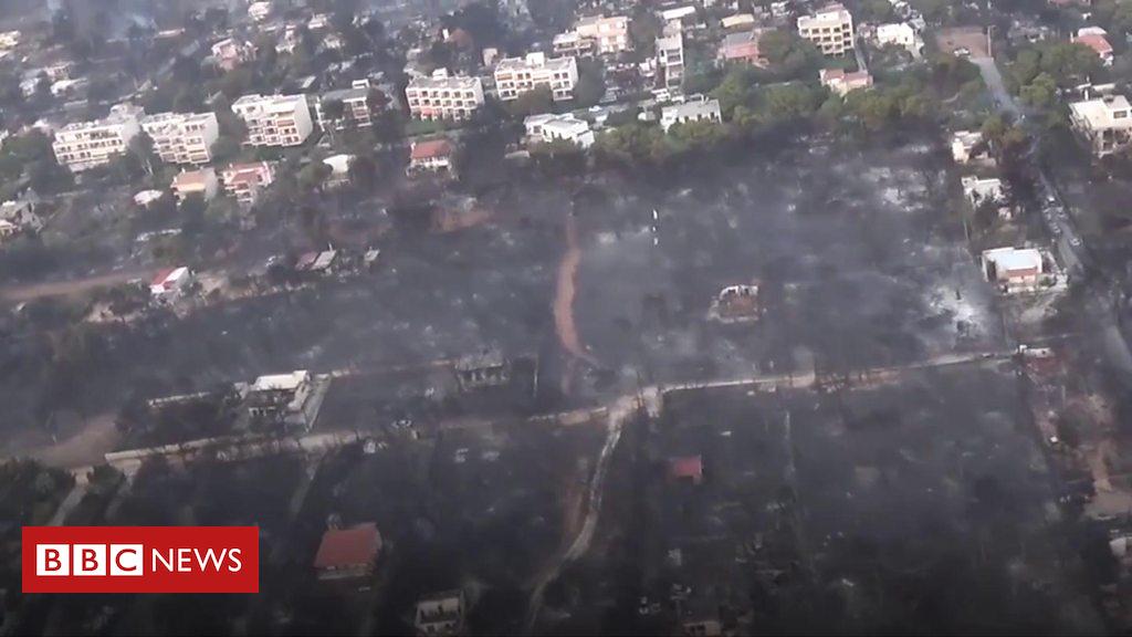 102679127 p06fmhjk - Greece wildfires: Ariel view of destruction