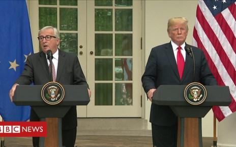 102693962 p06fqhgs - Donald Trump and Jean-Claude Juncker had 'a good meeting'
